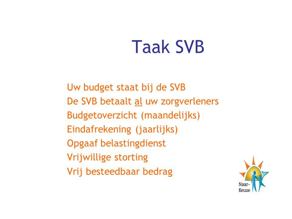 Taak SVB Uw budget staat bij de SVB De SVB betaalt al uw zorgverleners Budgetoverzicht (maandelijks) Eindafrekening (jaarlijks) Opgaaf belastingdienst