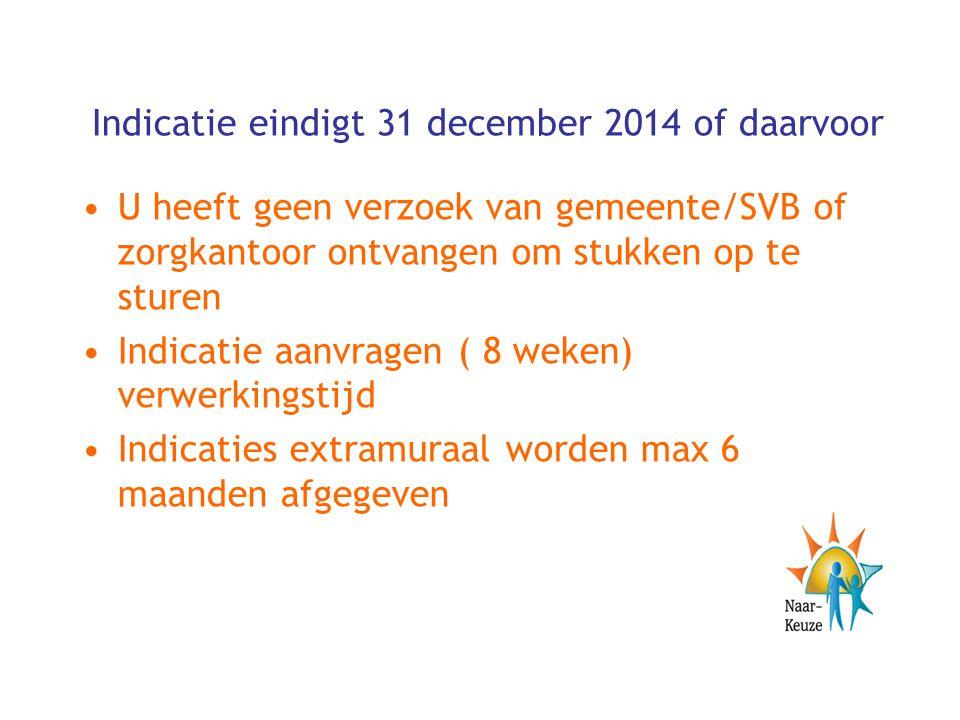 Indicatie eindigt 31 december 2014 of daarvoor U heeft geen verzoek van gemeente/SVB of zorgkantoor ontvangen om stukken op te sturen Indicatie aanvra