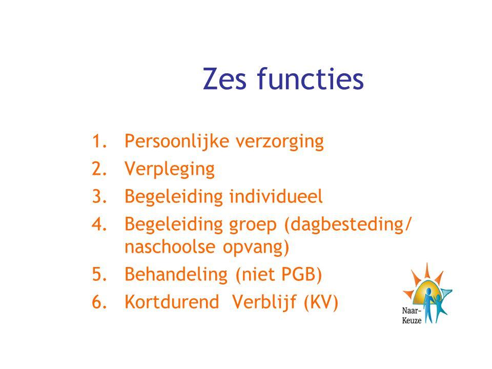 Zes functies 1.Persoonlijke verzorging 2.Verpleging 3.Begeleiding individueel 4.Begeleiding groep (dagbesteding/ naschoolse opvang) 5.Behandeling (nie