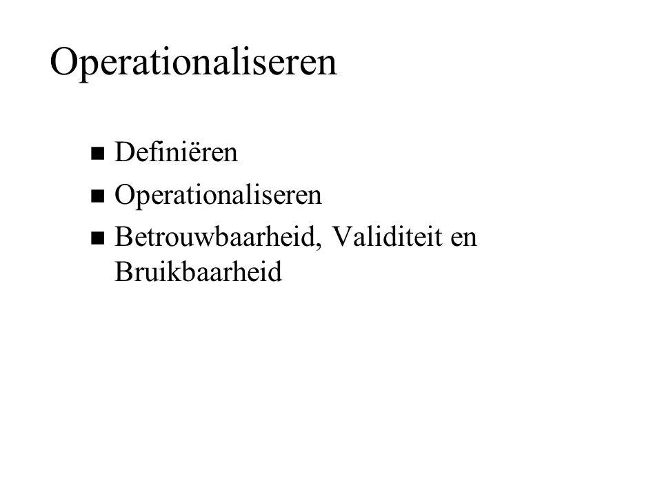Operationaliseren n Definiëren n Operationaliseren n Betrouwbaarheid, Validiteit en Bruikbaarheid