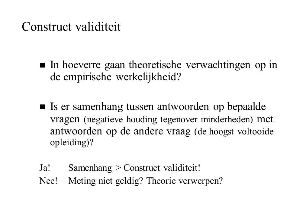 Construct validiteit n In hoeverre gaan theoretische verwachtingen op in de empirische werkelijkheid? n Is er samenhang tussen antwoorden op bepaalde