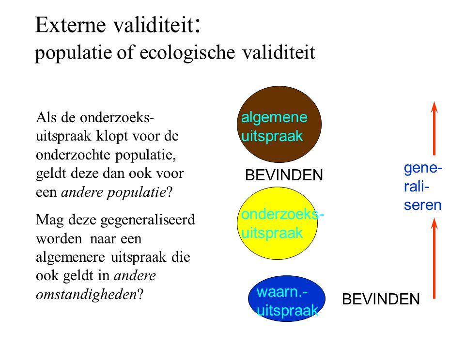 Externe validiteit : populatie of ecologische validiteit waarn.- uitspraak BEVINDEN gene- rali- seren algemene uitspraak onderzoeks- uitspraak Als de