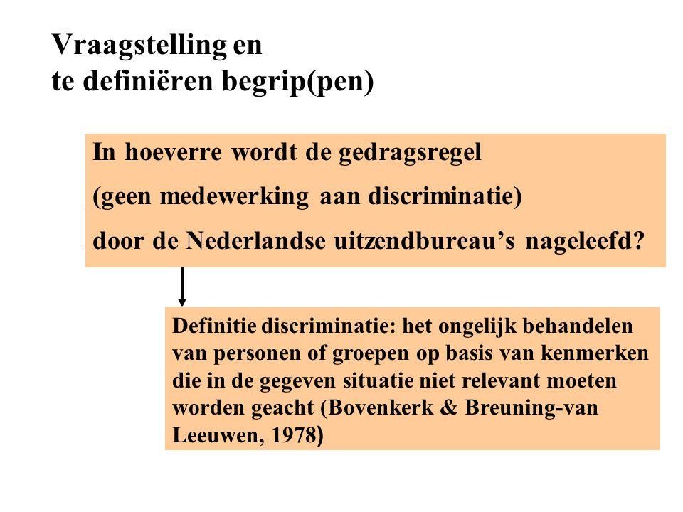 Vraagstelling en te definiëren begrip(pen) Definitie discriminatie: het ongelijk behandelen van personen of groepen op basis van kenmerken die in de g