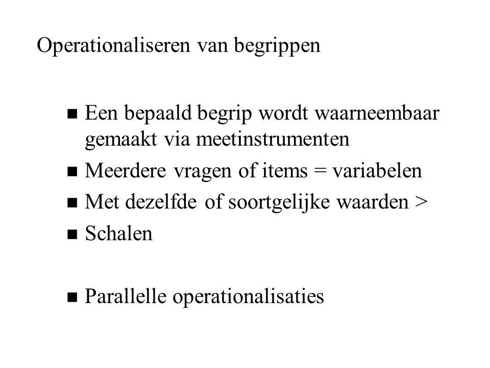 Operationaliseren van begrippen n Een bepaald begrip wordt waarneembaar gemaakt via meetinstrumenten n Meerdere vragen of items = variabelen n Met dez