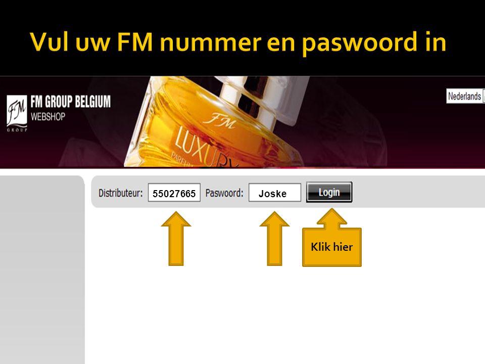 Groepsbestelling Vul het FM nummer in van de collega distributeur waarvoor jij een bestelling wil plaatsen 17004567 Vul hier zijn/haar E shop paswoord in.