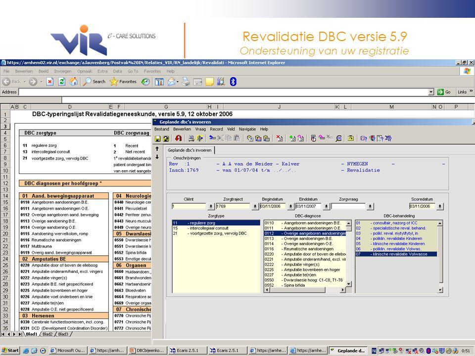 Ecaris versie 2.5.1en hoger 3-november 2006 Door: A. Lauvenberg Revalidatie DBC versie 5.9 Ondersteuning van uw registratie Diagnose tabel Registratie