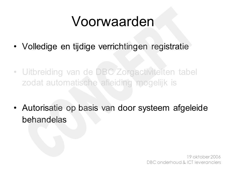 Voorwaarden Volledige en tijdige verrichtingen registratie Uitbreiding van de DBC Zorgactiviteiten tabel zodat automatische afleiding mogelijk is Auto