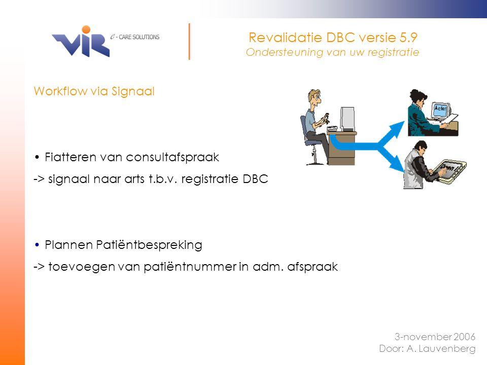 Workflow via Signaal Fiatteren van consultafspraak -> signaal naar arts t.b.v. registratie DBC Plannen Patiëntbespreking -> toevoegen van patiëntnumme