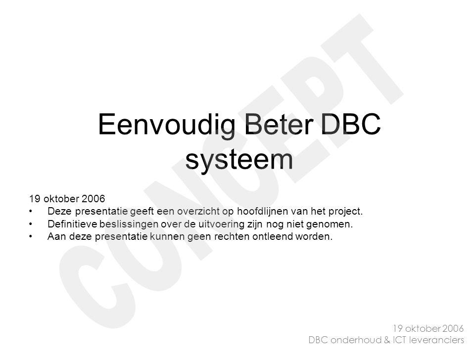 Eenvoudig Beter DBC systeem 19 oktober 2006 Deze presentatie geeft een overzicht op hoofdlijnen van het project. Definitieve beslissingen over de uitv
