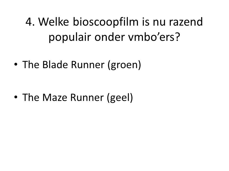 4. Welke bioscoopfilm is nu razend populair onder vmbo'ers.