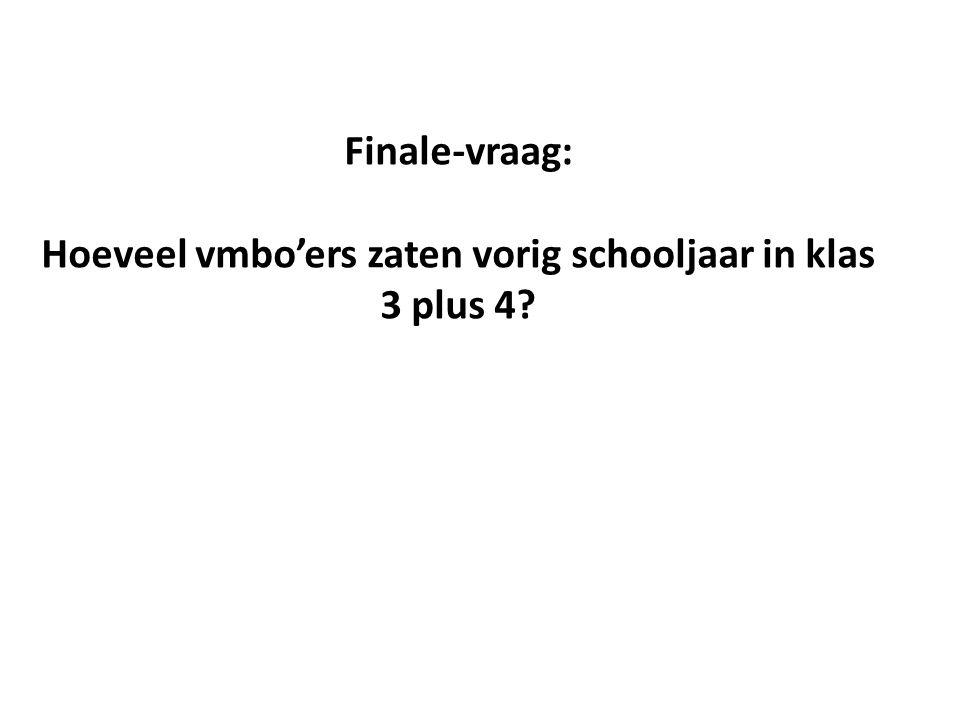 Finale-vraag: Hoeveel vmbo'ers zaten vorig schooljaar in klas 3 plus 4