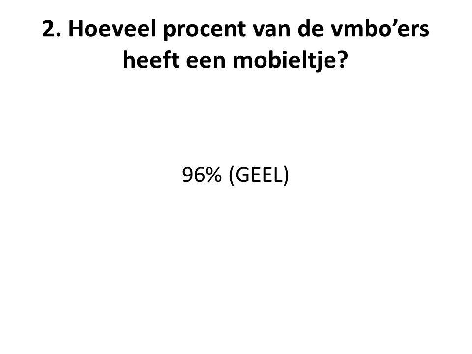 2. Hoeveel procent van de vmbo'ers heeft een mobieltje 96% (GEEL)