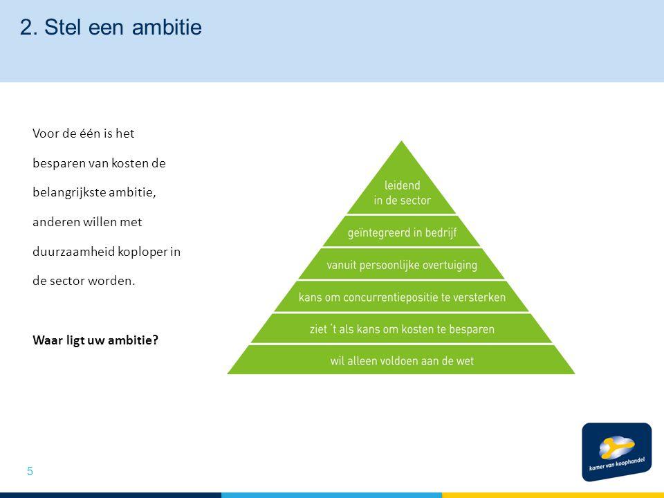 2. Stel een ambitie Voor de één is het besparen van kosten de belangrijkste ambitie, anderen willen met duurzaamheid koploper in de sector worden. Waa