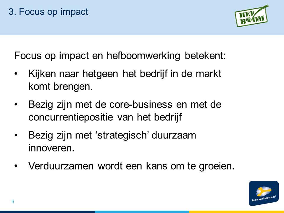 3. Focus op impact Focus op impact en hefboomwerking betekent: Kijken naar hetgeen het bedrijf in de markt komt brengen. Bezig zijn met de core-busine