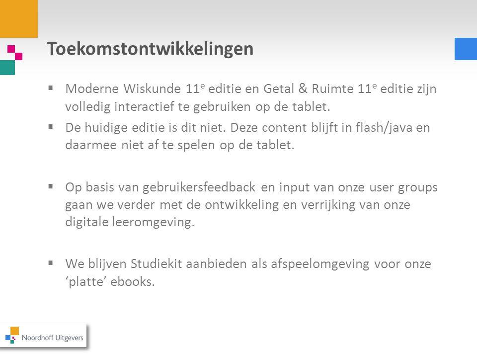 Toekomstontwikkelingen  Moderne Wiskunde 11 e editie en Getal & Ruimte 11 e editie zijn volledig interactief te gebruiken op de tablet.  De huidige