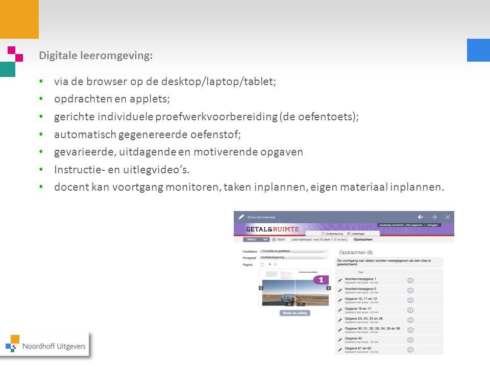 Digitale leeromgeving: via de browser op de desktop/laptop/tablet; opdrachten en applets; gerichte individuele proefwerkvoorbereiding (de oefentoets);