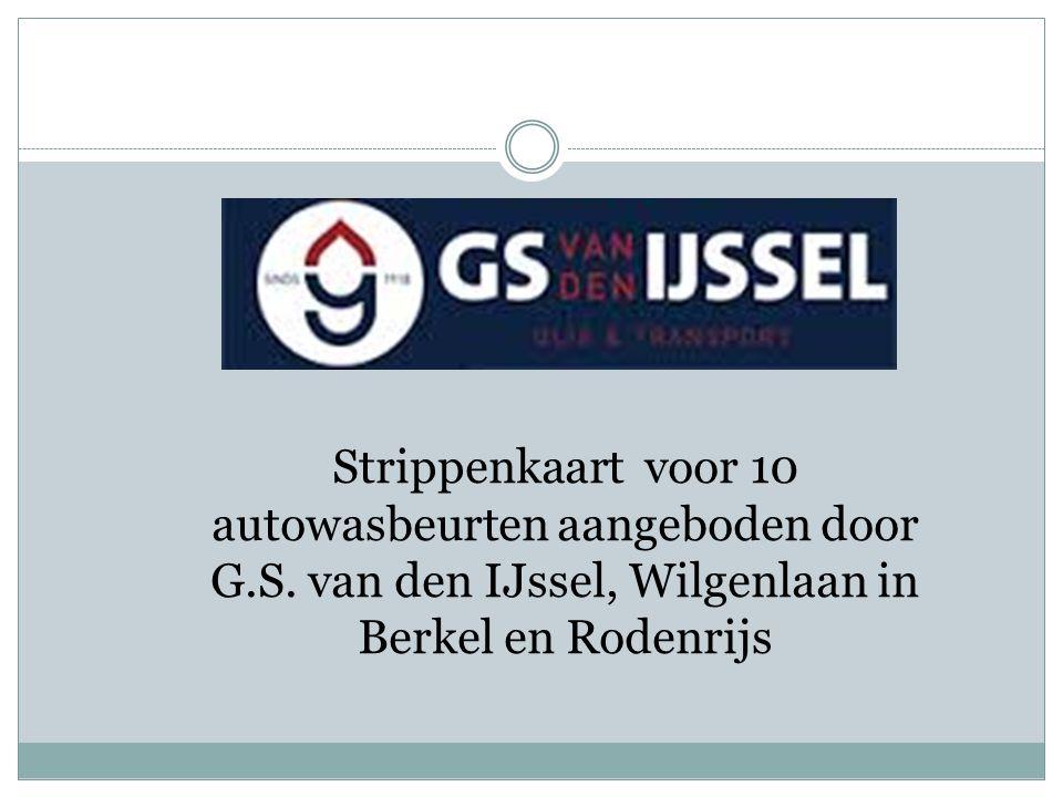 Strippenkaart voor 10 autowasbeurten aangeboden door G.S.