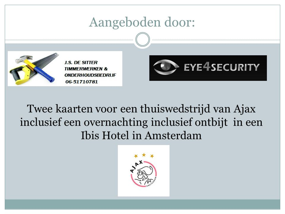 Aangeboden door: Twee kaarten voor een thuiswedstrijd van Ajax inclusief een overnachting inclusief ontbijt in een Ibis Hotel in Amsterdam