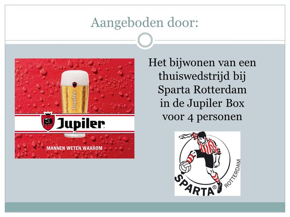 Aangeboden door: Het bijwonen van een thuiswedstrijd bij Sparta Rotterdam in de Jupiler Box voor 4 personen