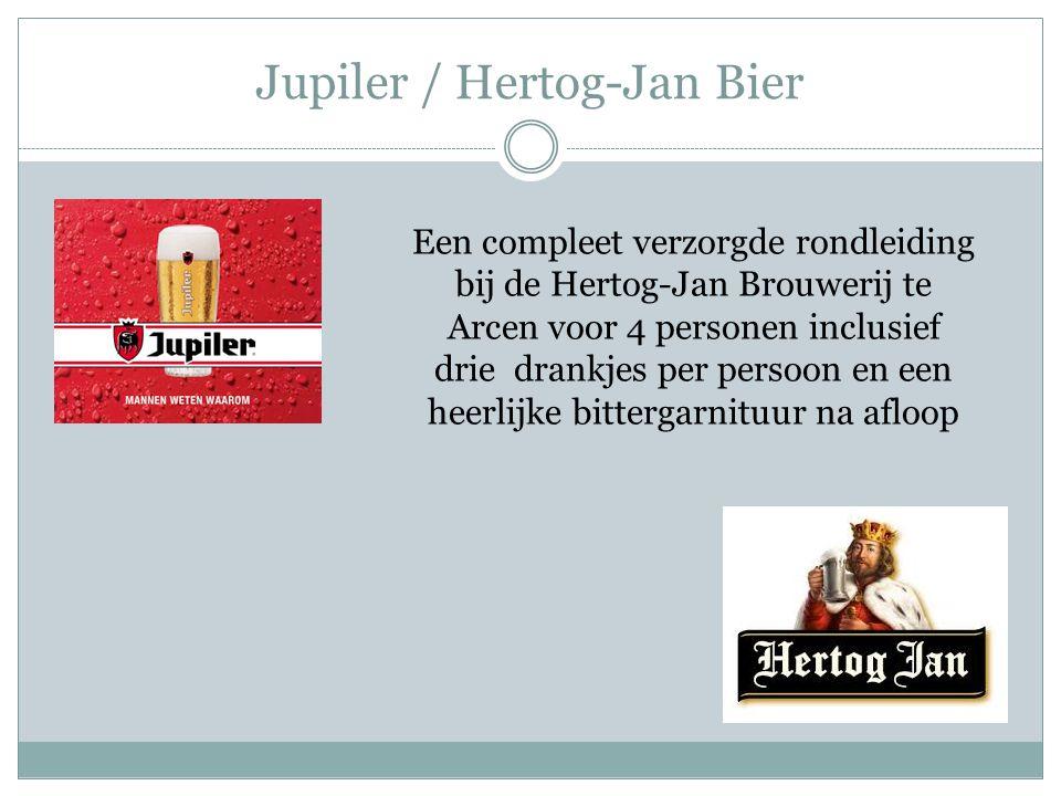 Jupiler / Hertog-Jan Bier Een compleet verzorgde rondleiding bij de Hertog-Jan Brouwerij te Arcen voor 4 personen inclusief drie drankjes per persoon en een heerlijke bittergarnituur na afloop