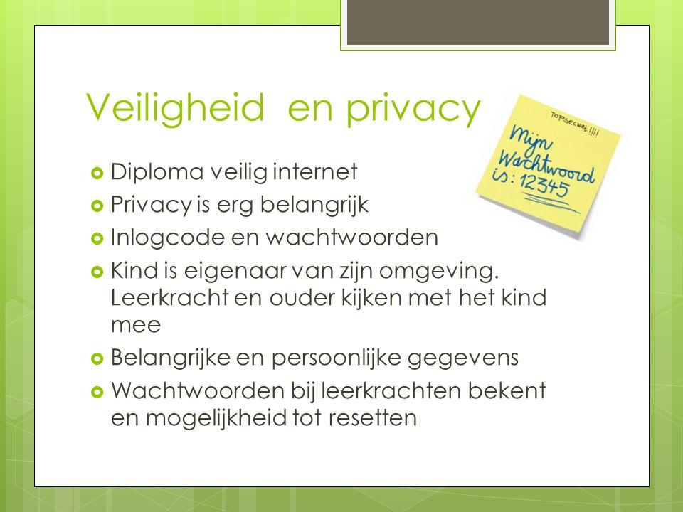 Veiligheid en privacy  Diploma veilig internet  Privacy is erg belangrijk  Inlogcode en wachtwoorden  Kind is eigenaar van zijn omgeving.