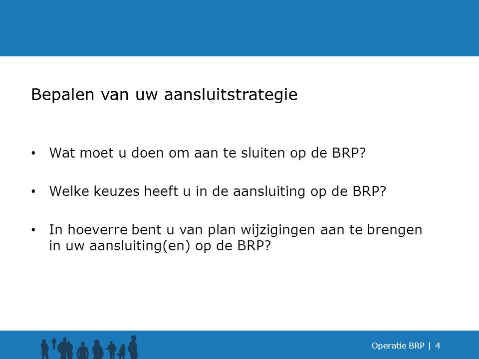 Wat moet u doen om aan te sluiten op de BRP? Welke keuzes heeft u in de aansluiting op de BRP? In hoeverre bent u van plan wijzigingen aan te brengen