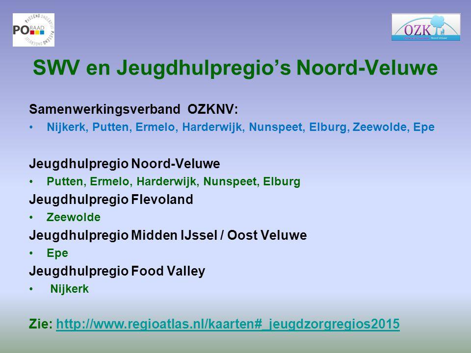 SWV en Jeugdhulpregio's Noord-Veluwe Samenwerkingsverband OZKNV: Nijkerk, Putten, Ermelo, Harderwijk, Nunspeet, Elburg, Zeewolde, Epe Jeugdhulpregio N