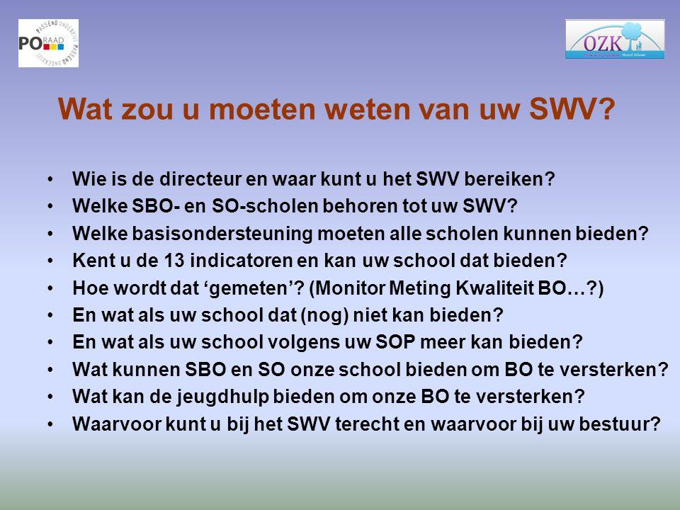 Wat zou u moeten weten van uw SWV? Wie is de directeur en waar kunt u het SWV bereiken? Welke SBO- en SO-scholen behoren tot uw SWV? Welke basisonders