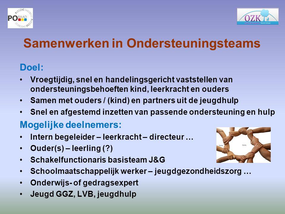 Samenwerken in Ondersteuningsteams Doel: Vroegtijdig, snel en handelingsgericht vaststellen van ondersteuningsbehoeften kind, leerkracht en ouders Sam