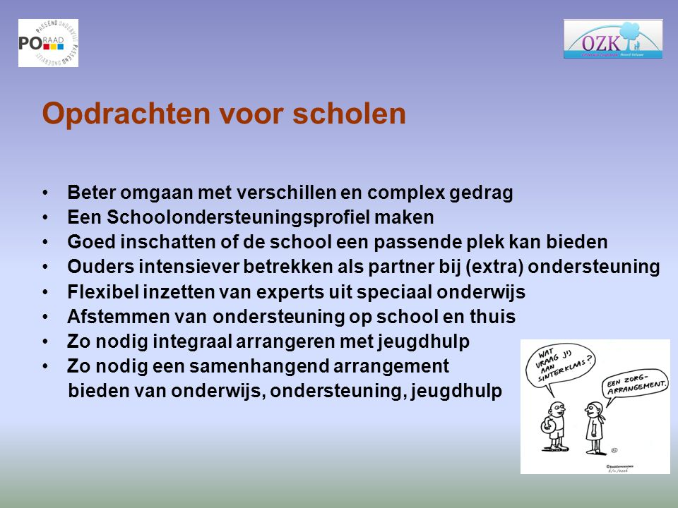 Opdrachten voor scholen Beter omgaan met verschillen en complex gedrag Een Schoolondersteuningsprofiel maken Goed inschatten of de school een passende