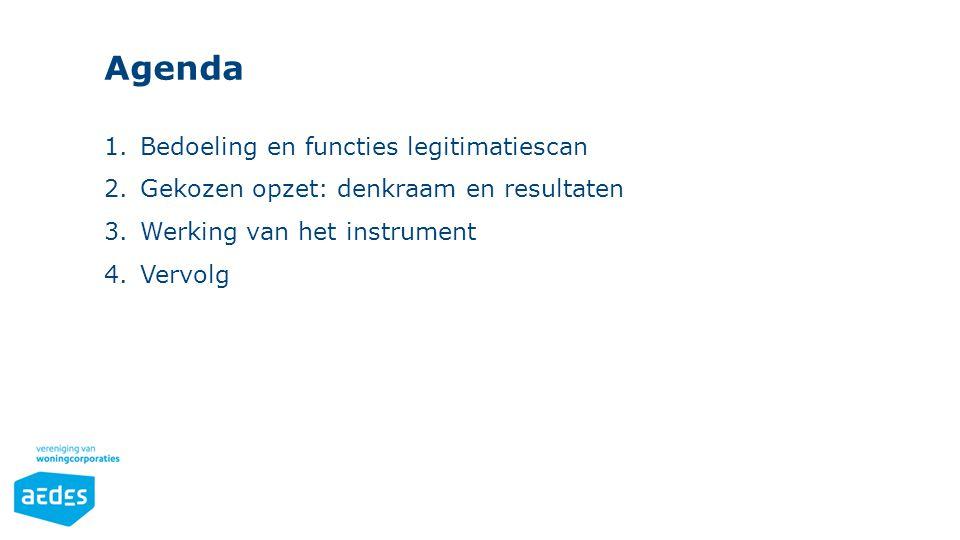 Agenda 1.Bedoeling en functies legitimatiescan 2.Gekozen opzet: denkraam en resultaten 3.Werking van het instrument 4.Vervolg