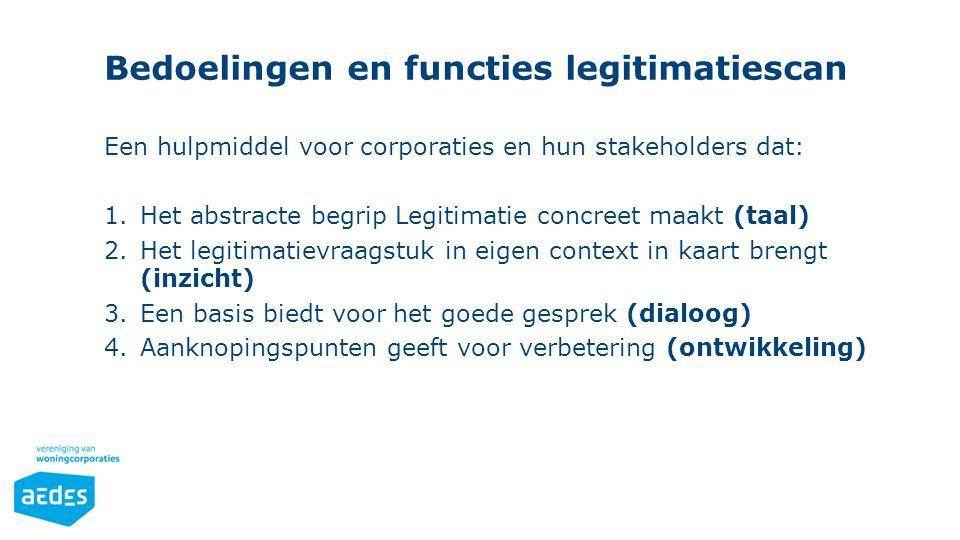 Bedoelingen en functies legitimatiescan Een hulpmiddel voor corporaties en hun stakeholders dat: 1.Het abstracte begrip Legitimatie concreet maakt (ta