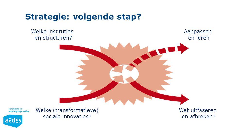 Welke (transformatieve) sociale innovaties? Welke instituties en structuren? Wat uitfaseren en afbreken? Aanpassen en leren Strategie: volgende stap?