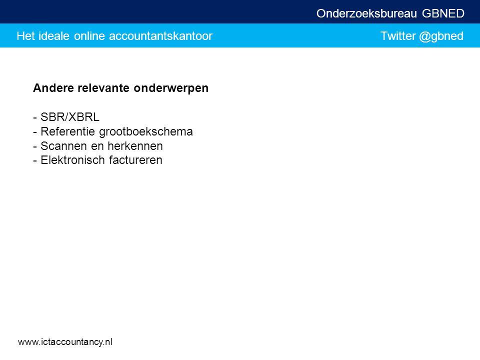 Het ideale online accountantskantoor Twitter @gbned Onderzoeksbureau GBNED www.ictaccountancy.nl Andere relevante onderwerpen - SBR/XBRL - Referentie