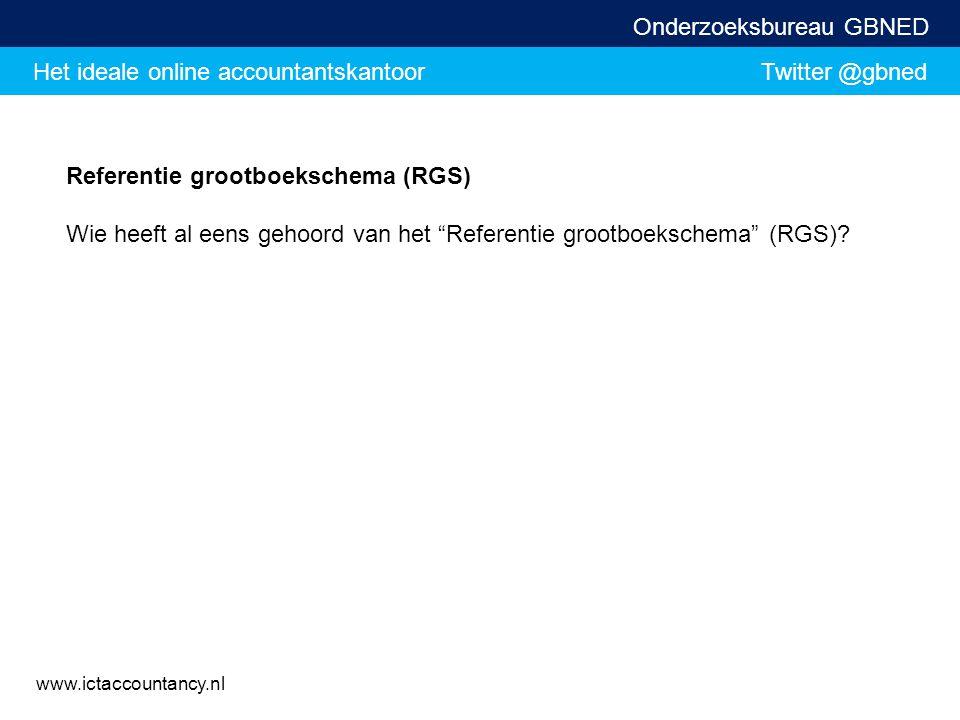 Het ideale online accountantskantoor Twitter @gbned Onderzoeksbureau GBNED www.ictaccountancy.nl Referentie grootboekschema (RGS) Wie heeft al eens ge