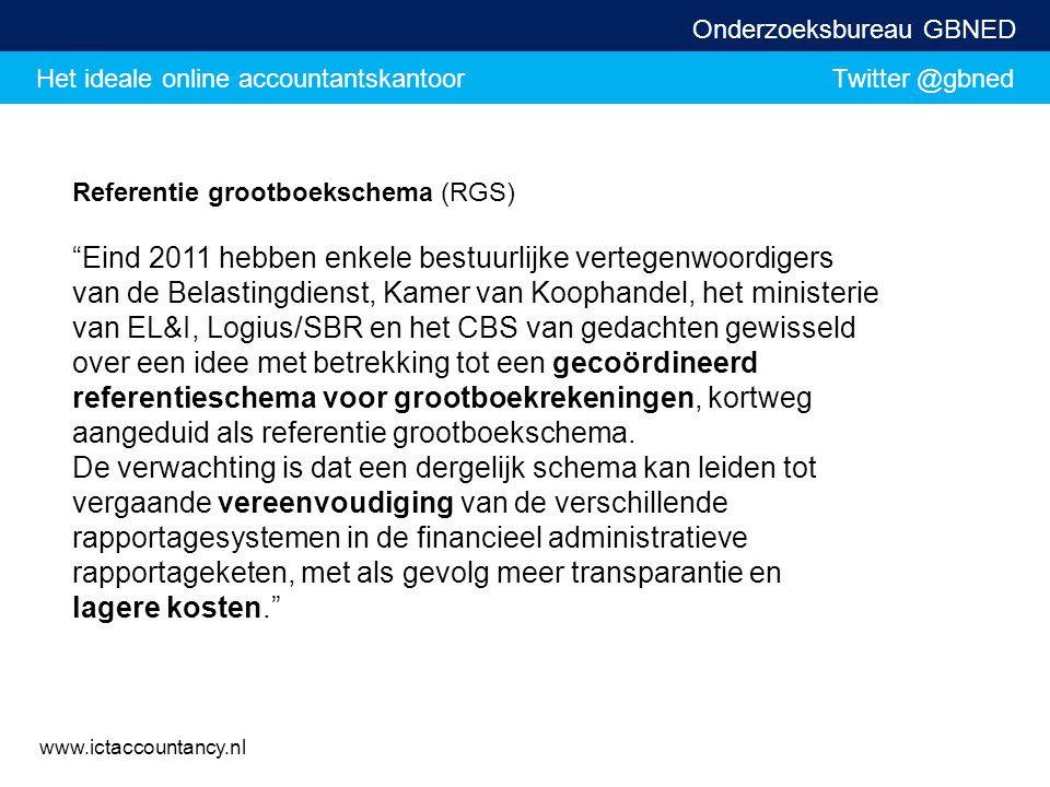 """Het ideale online accountantskantoor Twitter @gbned Onderzoeksbureau GBNED www.ictaccountancy.nl Referentie grootboekschema (RGS) """"Eind 2011 hebben en"""