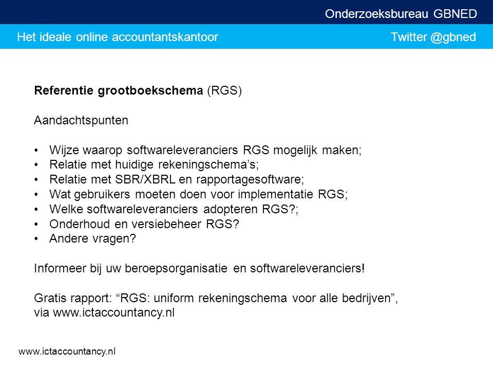 Het ideale online accountantskantoor Twitter @gbned Onderzoeksbureau GBNED www.ictaccountancy.nl Referentie grootboekschema (RGS) Aandachtspunten Wijz
