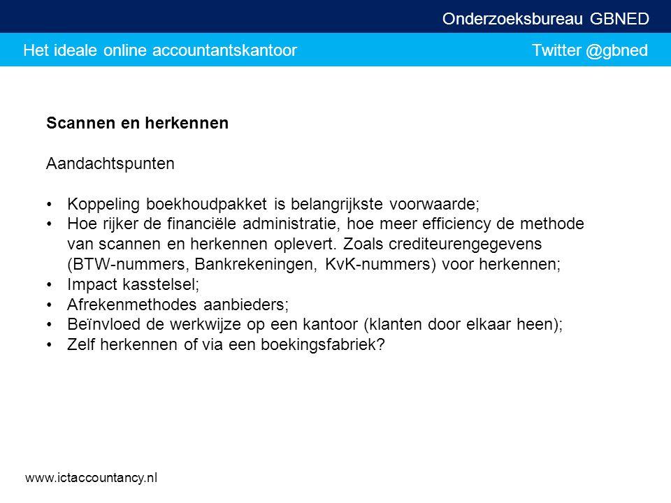 Het ideale online accountantskantoor Twitter @gbned Onderzoeksbureau GBNED www.ictaccountancy.nl Scannen en herkennen Aandachtspunten Koppeling boekho