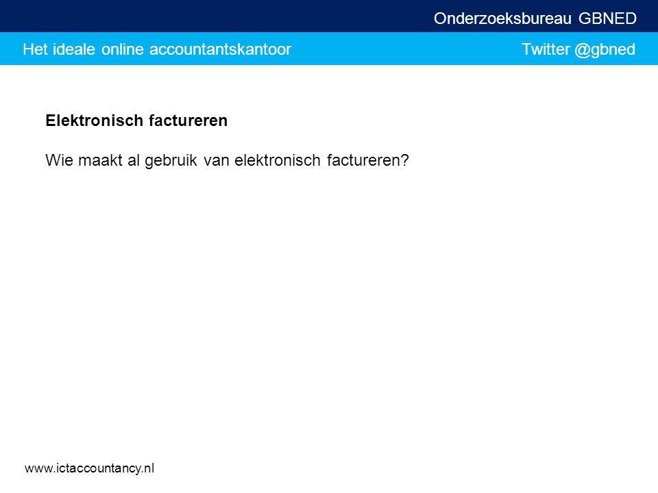 Het ideale online accountantskantoor Twitter @gbned Onderzoeksbureau GBNED www.ictaccountancy.nl Elektronisch factureren Wie maakt al gebruik van elek