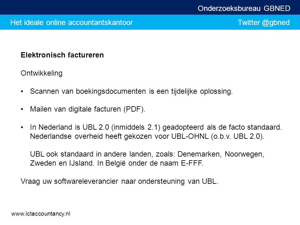 Het ideale online accountantskantoor Twitter @gbned Onderzoeksbureau GBNED www.ictaccountancy.nl Elektronisch factureren Ontwikkeling Scannen van boek