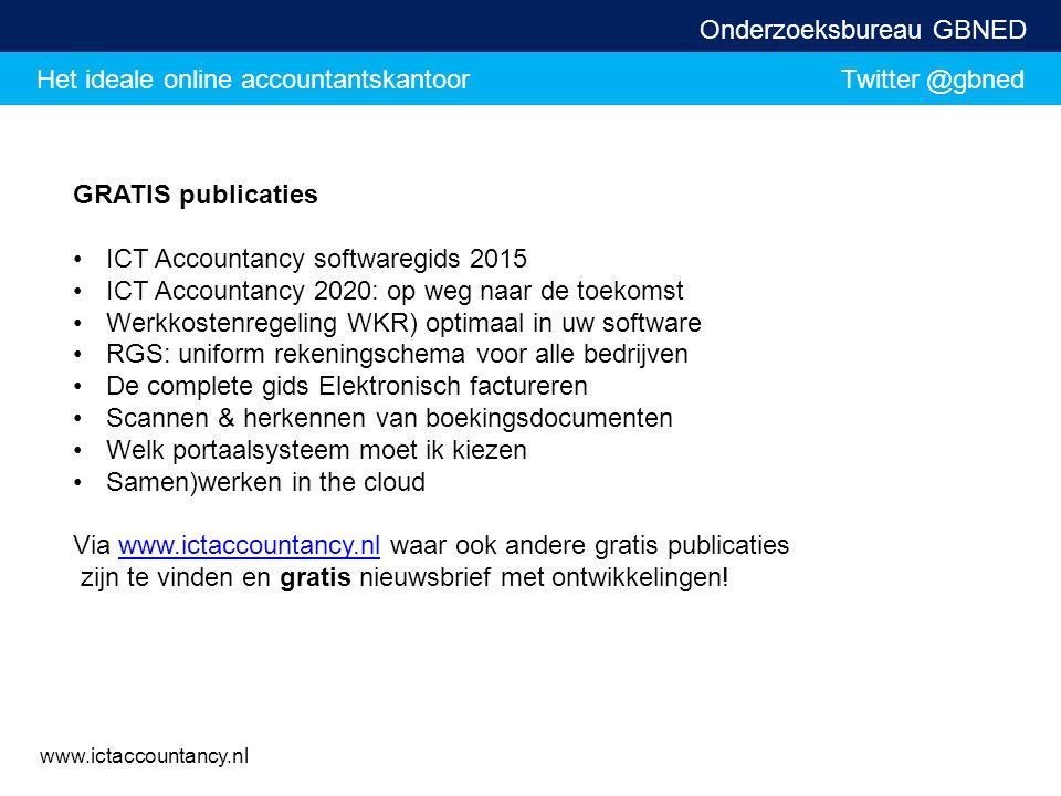 Het ideale online accountantskantoor Twitter @gbned Onderzoeksbureau GBNED www.ictaccountancy.nl GRATIS publicaties ICT Accountancy softwaregids 2015