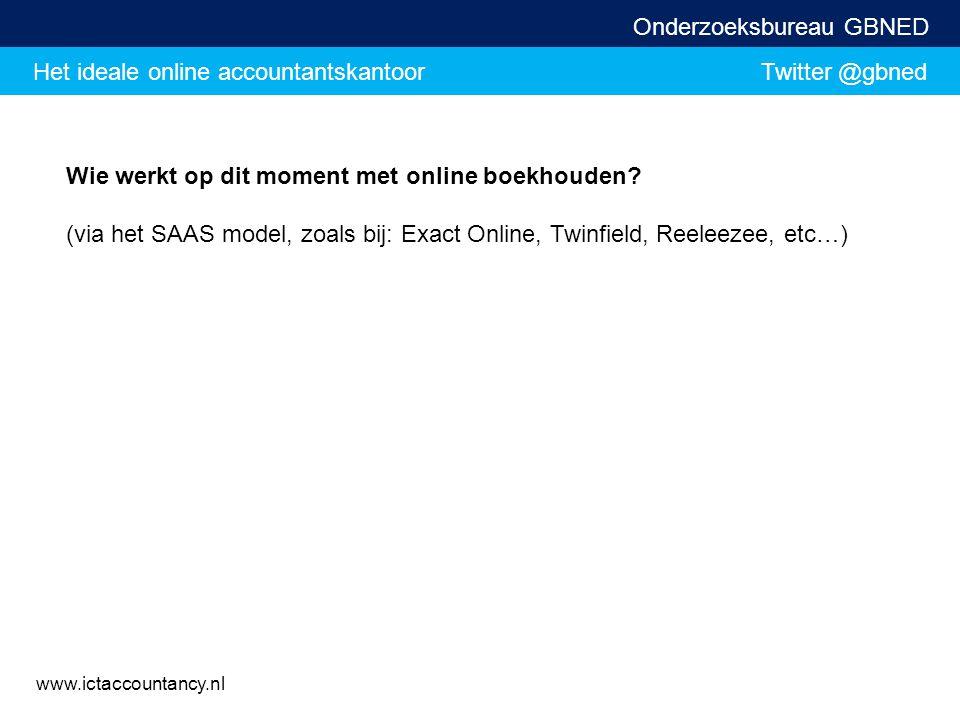 Het ideale online accountantskantoor Twitter @gbned Onderzoeksbureau GBNED www.ictaccountancy.nl Wie werkt op dit moment met online boekhouden? (via h
