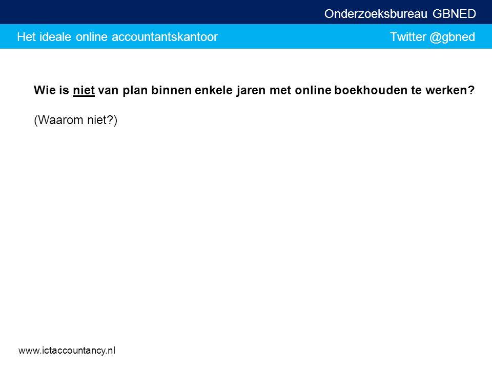 Het ideale online accountantskantoor Twitter @gbned Onderzoeksbureau GBNED www.ictaccountancy.nl Wie is niet van plan binnen enkele jaren met online b
