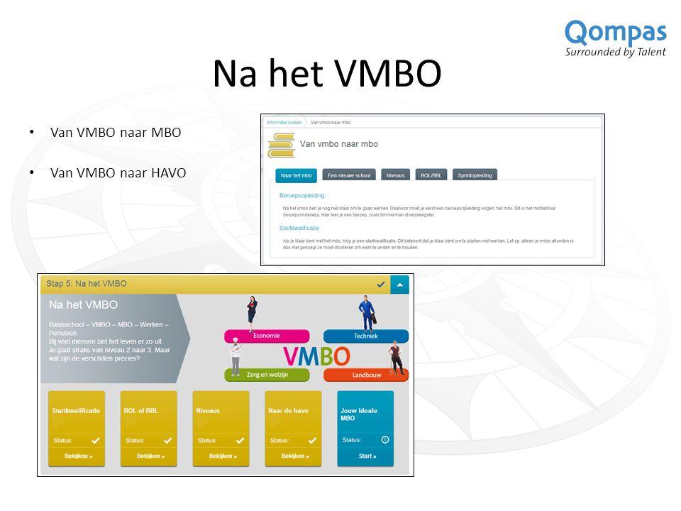Na het VMBO Van VMBO naar MBO Van VMBO naar HAVO