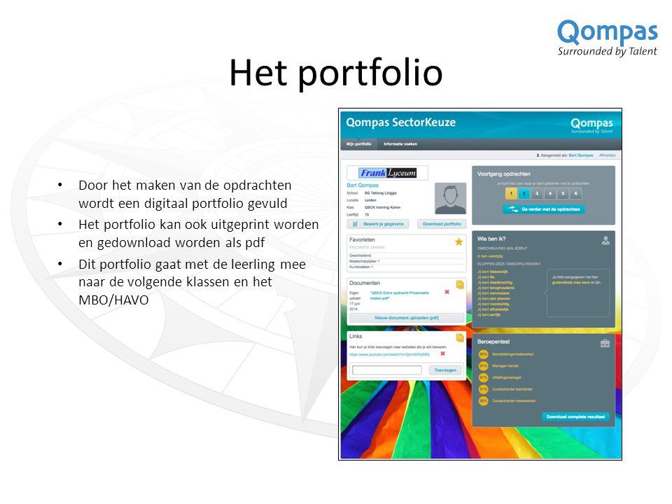 Het portfolio Door het maken van de opdrachten wordt een digitaal portfolio gevuld Het portfolio kan ook uitgeprint worden en gedownload worden als pdf Dit portfolio gaat met de leerling mee naar de volgende klassen en het MBO/HAVO