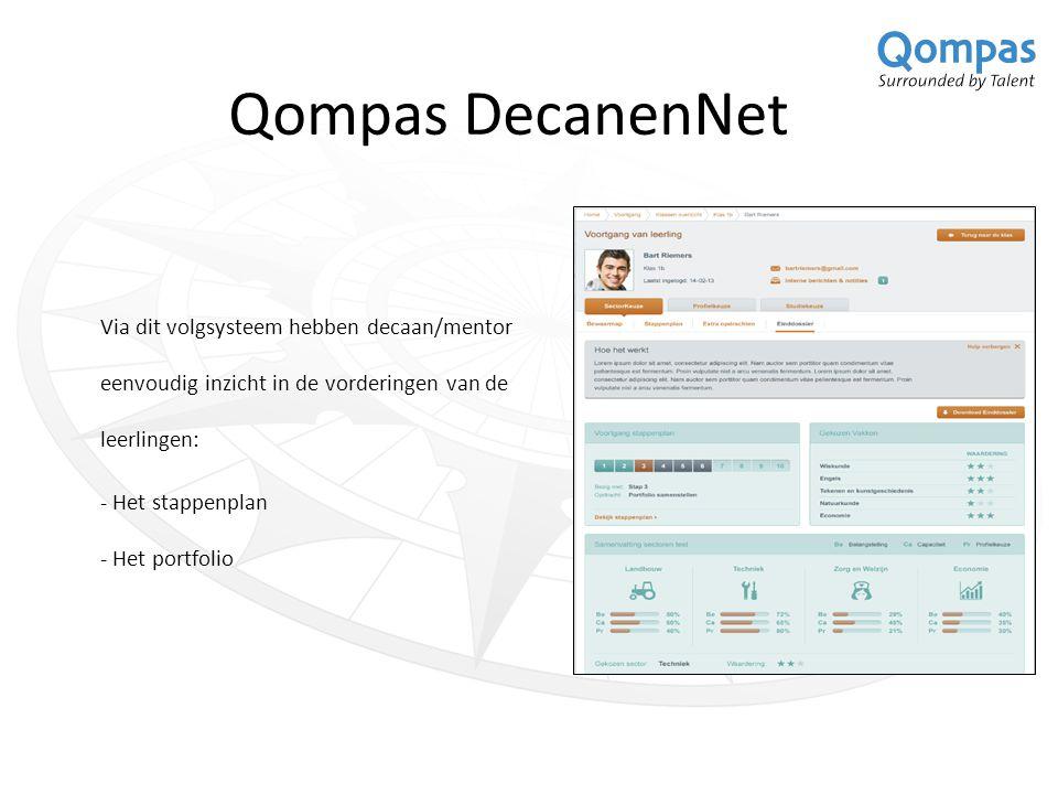 Qompas DecanenNet Via dit volgsysteem hebben decaan/mentor eenvoudig inzicht in de vorderingen van de leerlingen: - Het stappenplan - Het portfolio