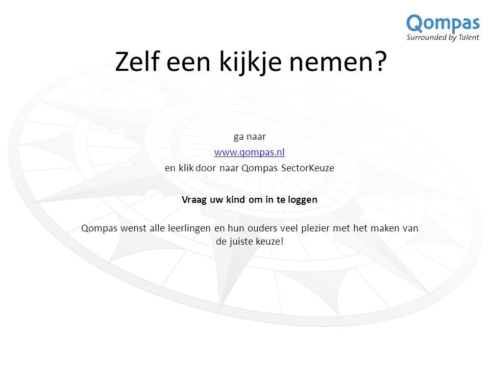 Zelf een kijkje nemen? ga naar www.qompas.nl en klik door naar Qompas SectorKeuze Vraag uw kind om in te loggen Qompas wenst alle leerlingen en hun ou