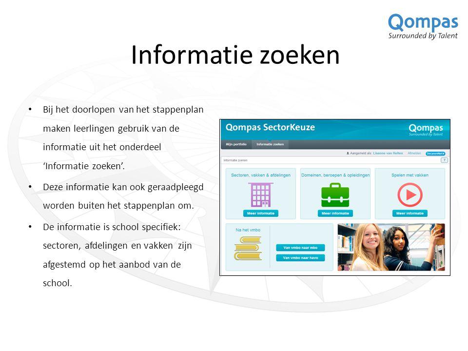 Informatie zoeken Bij het doorlopen van het stappenplan maken leerlingen gebruik van de informatie uit het onderdeel 'Informatie zoeken'. Deze informa