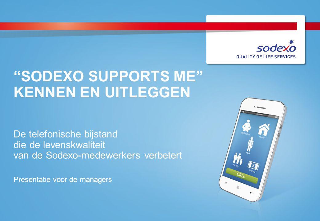 """""""SODEXO SUPPORTS ME"""" KENNEN EN UITLEGGEN De telefonische bijstand die de levenskwaliteit van de Sodexo-medewerkers verbetert Presentatie voor de manag"""