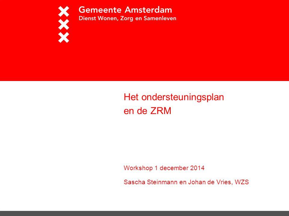Het ondersteuningsplan en de ZRM Workshop 1 december 2014 Sascha Steinmann en Johan de Vries, WZS